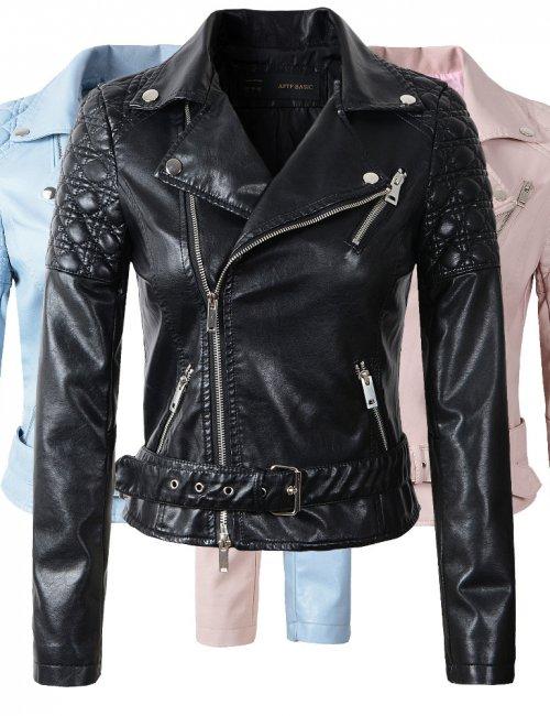 Women's Stylish Leather Motorcycle Long Sleeve Jacket