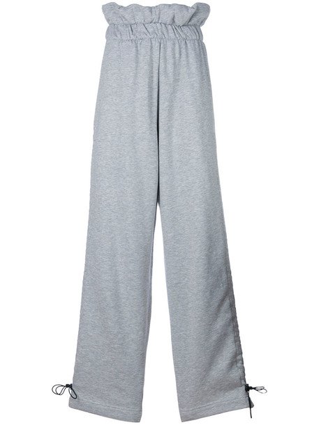 Circus Hotel - paperbag wide leg sweatpants - women - Cotton - S, Grey, Cotton