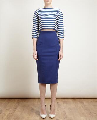 tank top striped wool-cotton crop top crop tops blue skirt pumps blue skirt shoes