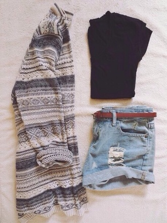 shorts crop shirt high waisted shorts high-wasted denim shorts sweater cardigan