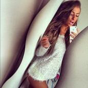 sweater,girly,white,fluffy,shirt,brown