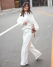 pants,white pants,wide-leg pants,high waisted pants,sweater,white sweater,earrings,clutch,snake print