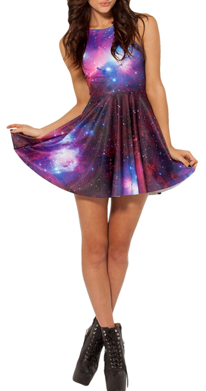 Fashion 2014 women pleated galaxy digital print summer mini skater dress at amazon women's clothing store: