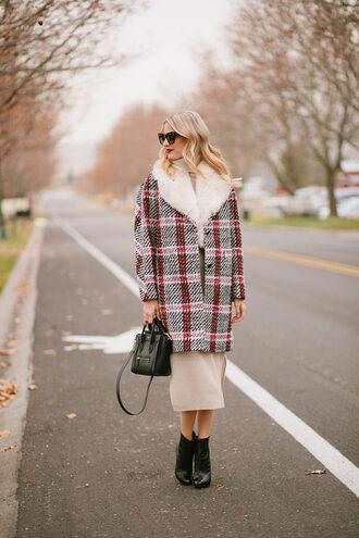 ivory lane blogger coat sweater dress shoes bag sunglasses make-up winter outfits ankle boots handbag celine bag nude dress knitted dress white knit dress beige knit dress
