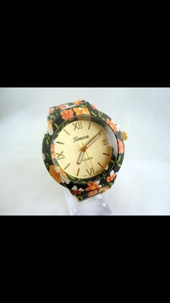 jewels floral hipster flowers jewelry clock