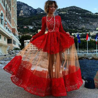 red dress prom dress maxi dress gown lace dress full lace geogrous dress long dress exact dress tumblr outfit fashion red lace boho beautiful amazing stylish fall outfits summer love sheer homecoming dress girly sexy prom pretty spring long sleeves pearl tulle skirt elegant