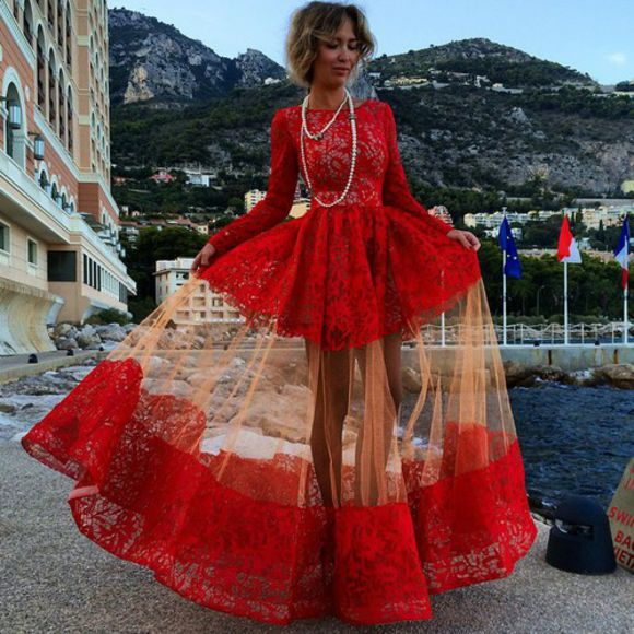 maxi dress long dress prom dress gown lace dress red dress full lace geogrous dress