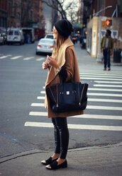 black,coat,brown coat,bag,shoes,smoking slippers,camel,beige,boyfriend coat,boyish,french girl style,hat,jewels,pants,beige coat,clothes,oxfords dress shoes,leather,black shoes,gold,black tote,pashli,phillip lim,camel coat,beanie,black beanie,leather leggings,black leather leggings,black loafers,streetstyle