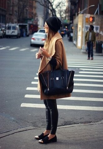 black coat brown coat bag shoes smoking slippers camel beige boyfriend coat boyish french girl style hat jewels pants beige coat clothes oxfords dress shoes leather black shoes gold black tote pashli phillip lim camel coat beanie black beanie leather leggings black leather leggings black loafers streetstyle