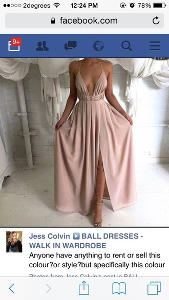 dress nude nude dress plunge v neck maxi dress prom dress flowy www.ebonylace.net ebonylacefashion