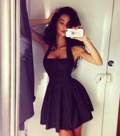 dress,black dress,little black dress,black,accessories,clothes,skater dress,halter dress,halter top,sleeveless,mini dress,short dress