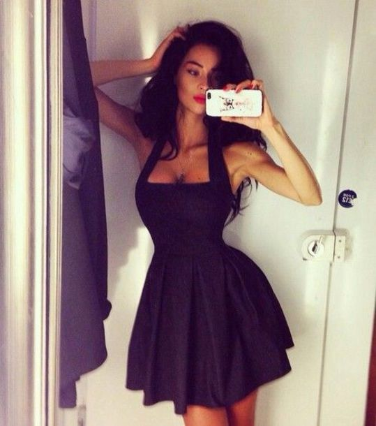 dress sexy black black dress little black dress iphone selfie accessories clothes dress skater dress halter dress bag mini dress halter top sleeveless short dress elegant hot summer halter neck dress trendy fashion party dress girly cute style feminine lbd dress beautifulhalo