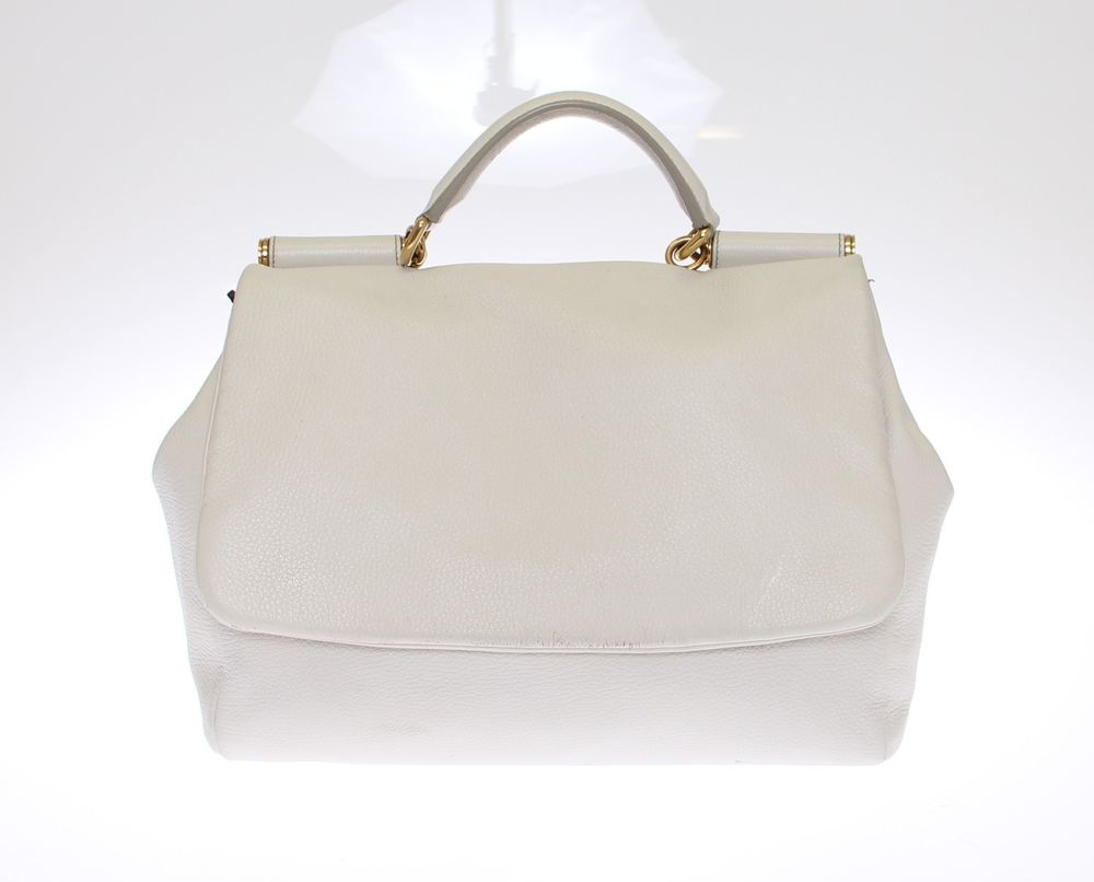 Preloved Dolce Gabbana White Leather Miss Sicily Satchel Handbag ... a5c59c185d02f