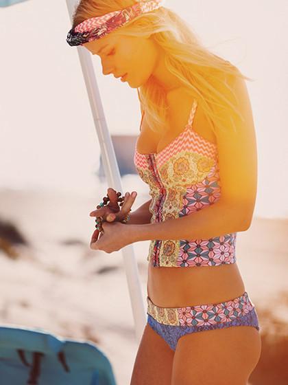 Floral Chevron Print Lattice Bikini Suit