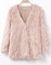 Pink v neck long sleeve faux fur coat