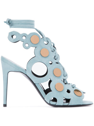 women sandals lace leather blue suede shoes