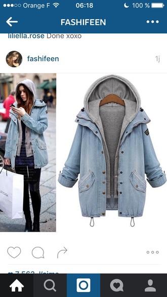 jacket blue jeans grey sweater