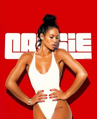 swimwear cassie ventura photoshoot check her out in theaters march 11 red ? white bodied model / singer / actress wcw one piece swimsuit white like milk $$$$ mixed.