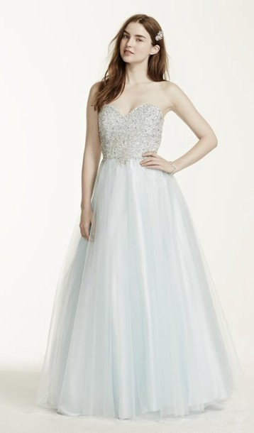 dress strapless dress ice blue prom dress ball gown dress sweetheart dress prom icy blue cute