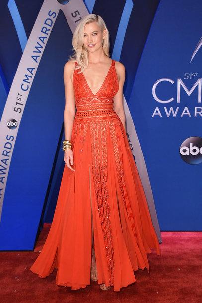 dress gown red dress red red carpet dress karlie kloss model off-duty cma awards