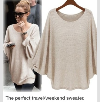 beige beige lauren conrad oversized sweater travel travelstyle top cream jumper knitwear