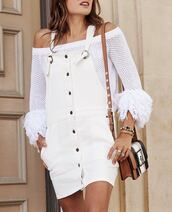 dress,mesh top,tumblr,denim dress,white dress,mini dress,top,off the shoulder,off the shoulder top,bell sleeves,bag,mini bag,button up,mesh,jewels