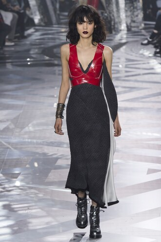 dress top bustier fashion week 2016 paris fashion week 2016 runway model louis vuitton bracelets midi dress