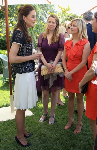 kate middleton reese witherspoon ruffles red dress