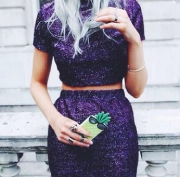 sparkle co-ord purple