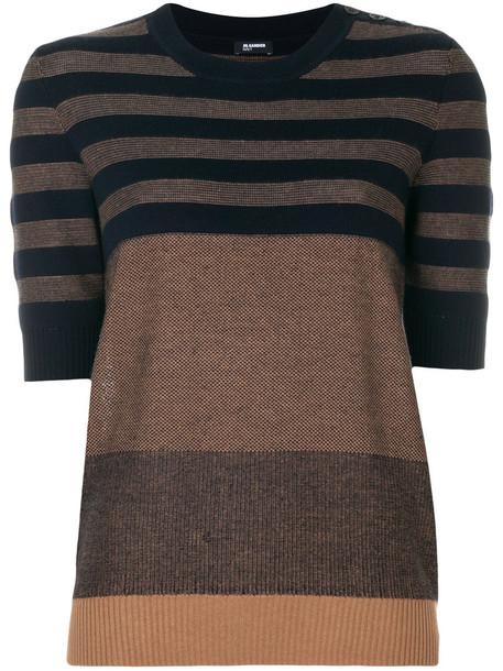 Jil Sander Navy top knitted top women silk wool brown