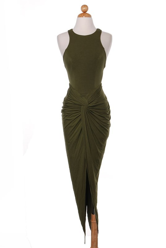 Olive High and Low Front Twist Dress