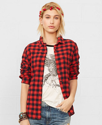 c0768573696f92 Denim supply ralph lauren long sleeve gingham shirt tops women macys jpg  327x400 Shirts for women