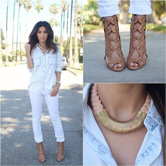 jeans white jeans white denim spring clothes rolled jeans shoes jewels blouse