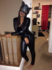 jumpsuit,leather pants,leather leggings,leather jacket,black jumpsuit,black high heels,masks,ski-mask,crop tops,style,fashion,cat ears,cats,costume,costume ideas,halloween costume