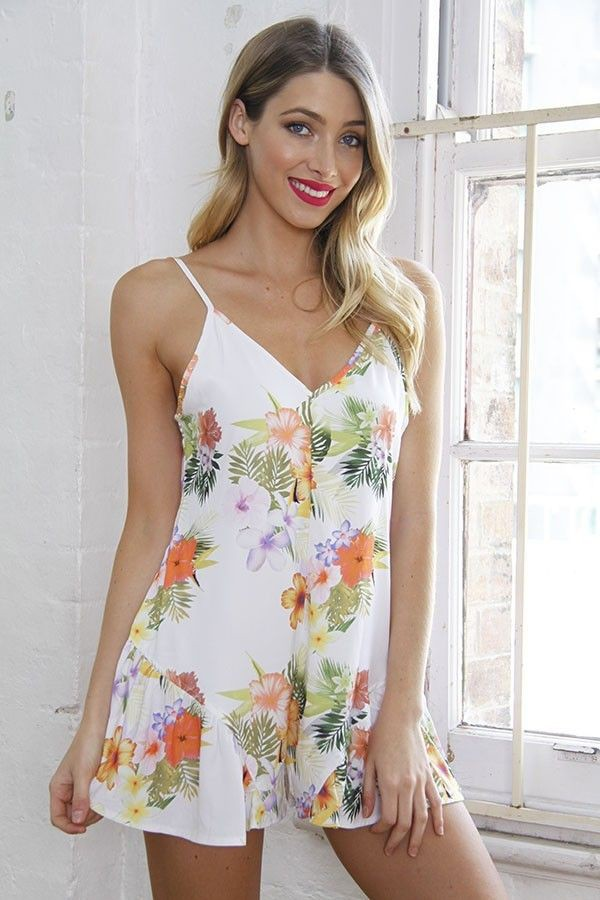 white and tropical print tropical romper frilly shorts www.ustrendy.com
