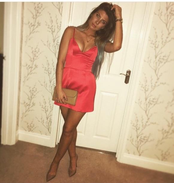 dress pink dress satin dress