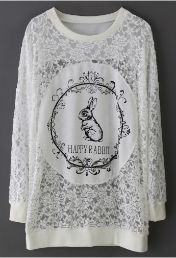 Happy Rabbit Full Lace Top - Retro, Indie and Unique Fashion