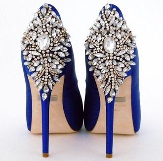 shoes diamonds blue high heels