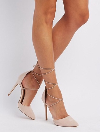 shoes nude heels high heel pumps lace up heels