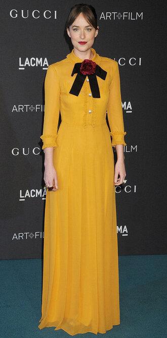 dress maxi dress dakota johnson yellow yellow dress retro long dress mustard