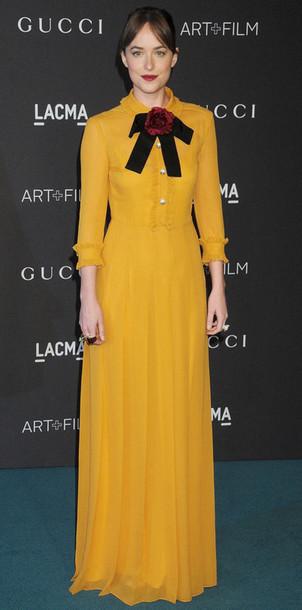 69aabab43 dress maxi dress dakota johnson yellow yellow dress retro long dress  mustard mustard dress gucci