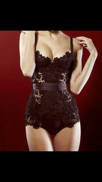 jumpsuit bodysuit black lace tight