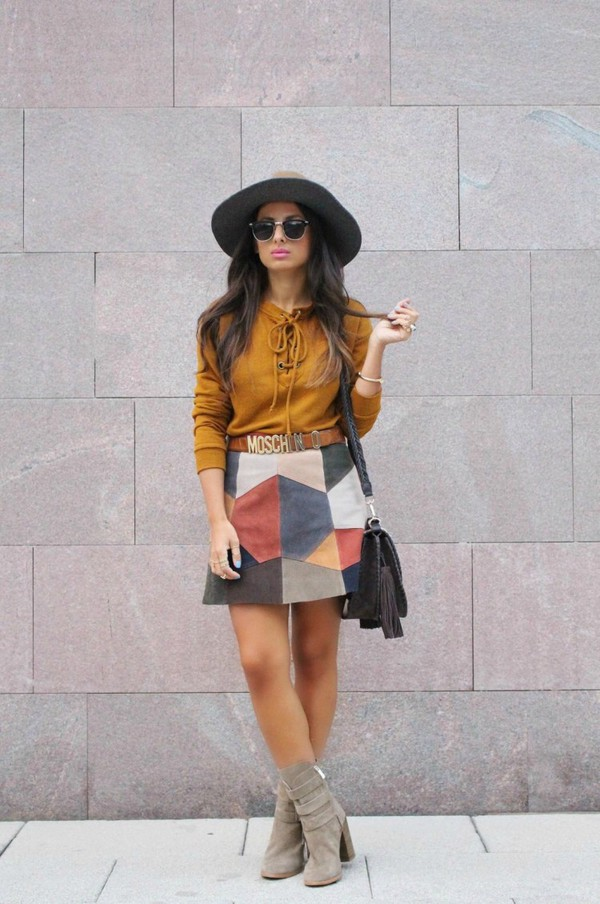 Skirt: style by nelli, blogger, suede skirt, moschino, fall skirt ...
