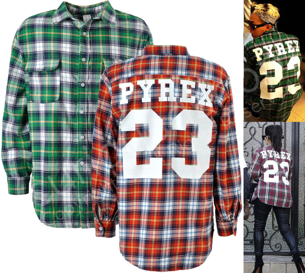 New Mens 23 Print Flannel Plaid Shirt M L Green Red Kanye G-Dragon Celebrity | eBay
