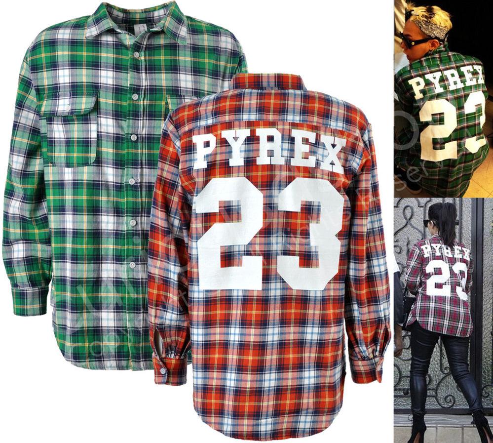 New mens 23 print flannel plaid shirt m l green red kanye g
