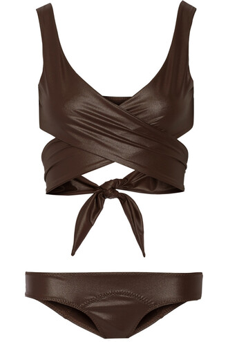 bikini dark brown swimwear