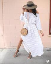 dress,hat,tumblr dress,tumblr,maxi dress,white long dress,long dress,off the shoulder,off the shoulder dress,stripes,striped dress,bag,round bag,sandals,flat sandals,slit dress,sun hat,shoes,soludos