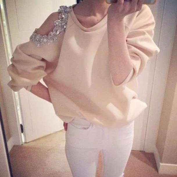 blouse beaded diamonds shoulder free shoulder blouse jacket white jumper cardigan sweater fashion cut-out long sleeves Chic Round Neck Long Sleeve Hollow Out Studded Flower Embellished T-Shirt For Women peach cute girly warm cozy