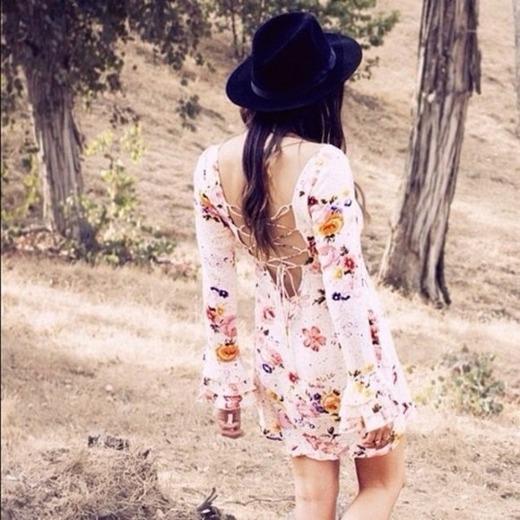 dress boho bohemian hippie hippy gypsy black floral hat backless cut outs back cut outs cross cross long sleeve