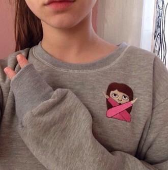 sweater tumblr emoji print x emoji cross grey
